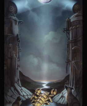 steampunk Tarot card of the MOON #18 Tara Greene
